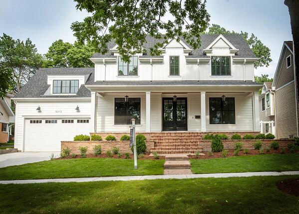 downers grove home builder white house black windows