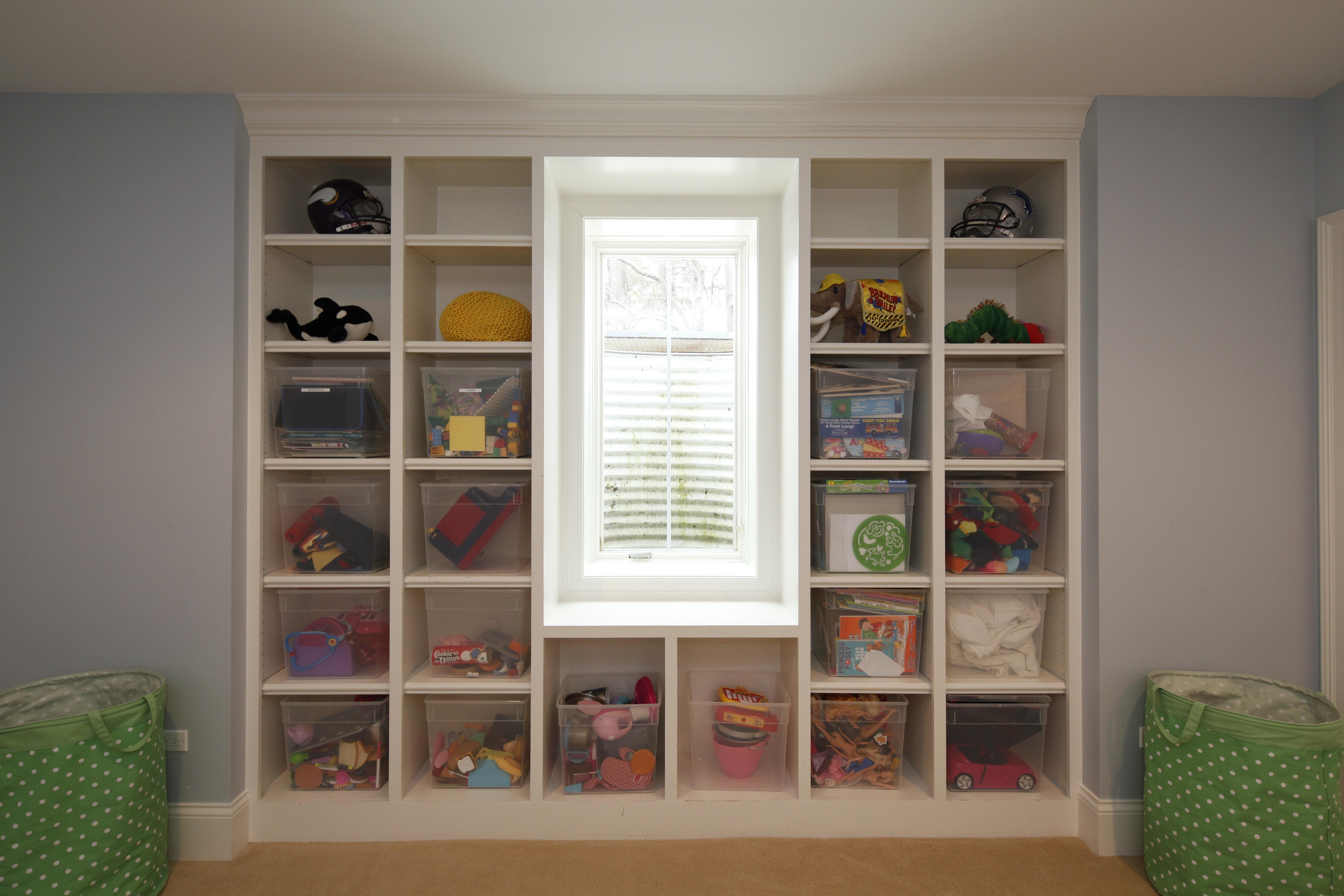 built in cubbies toy storage